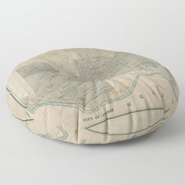 Vintage Map of El Paso TX (1914) Floor Pillow