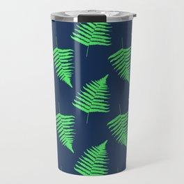 Navy and Lime Fern Pattern Travel Mug