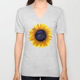 Sunflower Eclipse Earth Sun Unisex V-Neck