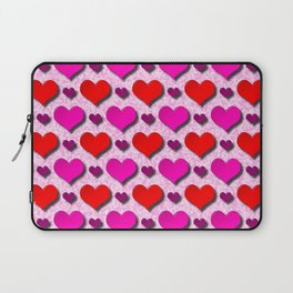 Love Hearts Pattern With Pink Fuzzy Background Laptop Sleeve