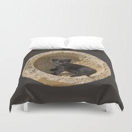 Black kitten in a stone bowl Duvet Cover