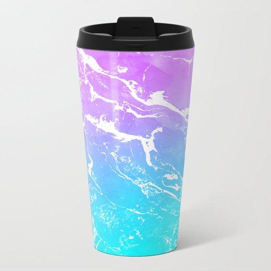 Modern summer purple blue ombre watercolor mermaid white marble Metal Travel Mug