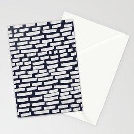 Light Grey Strokes on Dark Blue Stationery Cards