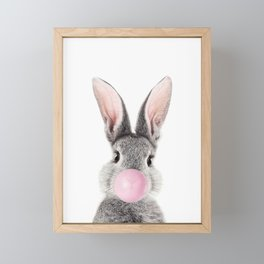 Bunny With Bubble Gum Framed Mini Art Print