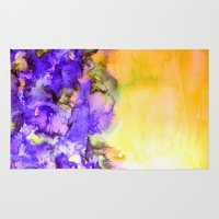 jazzberry Area & Throw Rugs featuring INTO ETERNITY, YELLOW AND LAVENDER PURPLE Colorful Watercolor Painting Abstract Art Floral Landscape by EbiEmporium