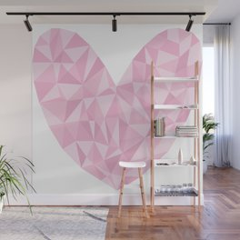 Pink Polygon Heart Wall Mural