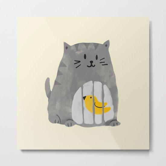A cat that swallows a bird Metal Print