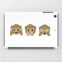 emoji iPad Cases featuring Monkey Emoji Row by Lucia C