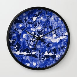 Los Lobos Locos Blue Wall Clock