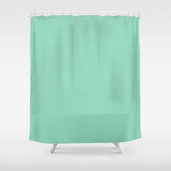 mint green shower curtain by color project society6