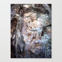 budi satria kwan Canvas Prints featuring Kwan Yin Buddhist Carving - Marble Mountain, Danang, Vietnam by Kurtis Ostrom Photography