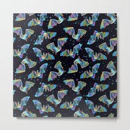 Pastel Party Bat Pattern Metal Print