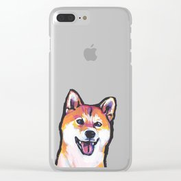 Shiba Inu Fun Dog Portrait bright colorful Pop Art Paintng by LEA Clear iPhone Case