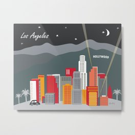 Los Angeles, California - Skyline Illustration by Loose Petals Metal Print