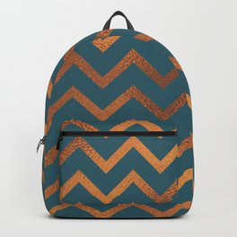 Teal & Rose Gold Chevron Backpack