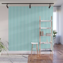 Classic Aqua Blue and White Mattress Ticking Stripes Wall Mural