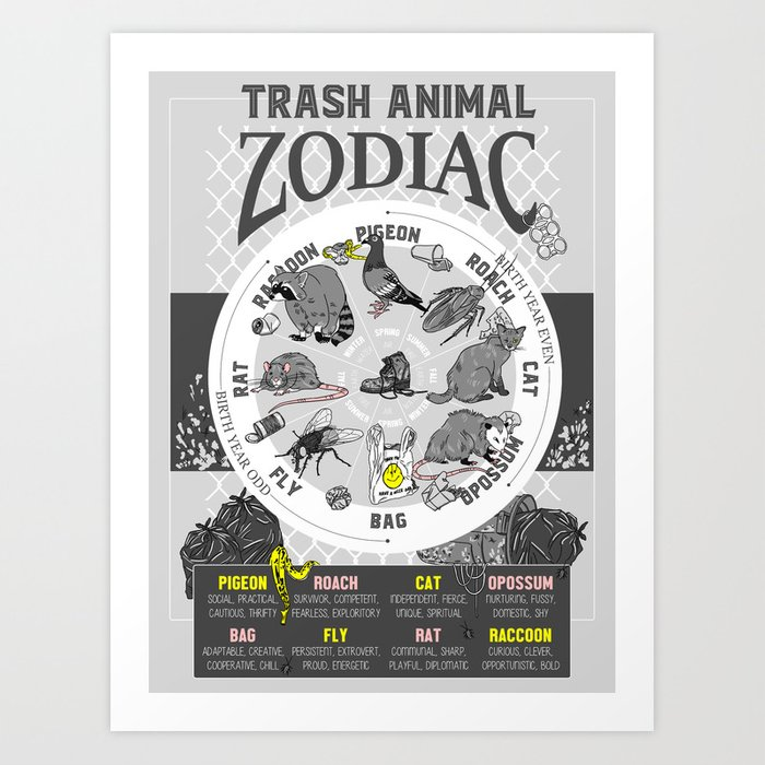 Trash Animal Zodiac Art Print