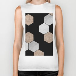 Geometric marble and rose gold on black Biker Tank