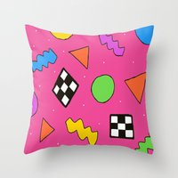 80s Throw Pillows featuring 80s Print by The POP Factory