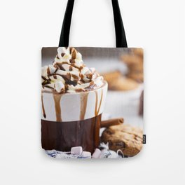 Messy hot chocolate, cream and marshmallows and a choc-chip cookie Tote Bag