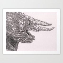 Happy Chameleon (pen and ink) Art Print
