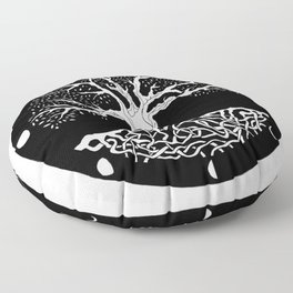 black and white tree of life with moon phases and celtic trinity knot Floor Pillow
