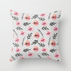 Red flowers. Watercolor Throw Pillow