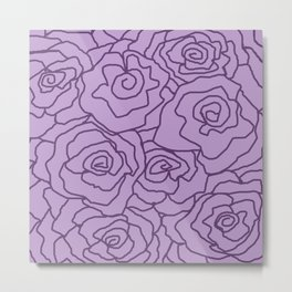 Lavender Dreams Roses - Light with Dark Outline - Color Therapy Metal Print