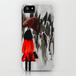 The Girl In The Red Rain Coat (Part 3)  Fine Art Acrylic Painting iPhone Case