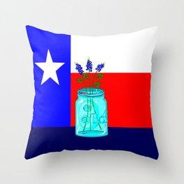 A Texas Flag and Blue Bonnets in a Jar Throw Pillow