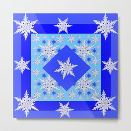 DECORATIVE BABY BLUE SNOW CRYSTALS BLUE WINTER ART Metal Print
