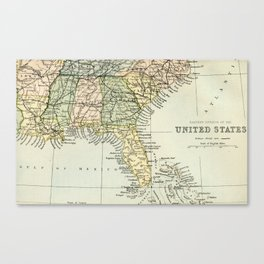 Vintage Map of the South Of The United States Of America Canvas Print