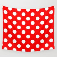 polkadot Wall Tapestries featuring Polka Dots (White/Red) by 10813 Apparel