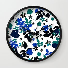 cobalt leaves Wall Clock