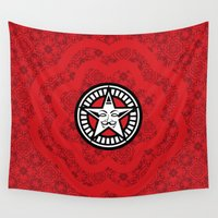 propaganda Wall Tapestries featuring DISOBEY: Red Propaganda by Feel Good Everyday