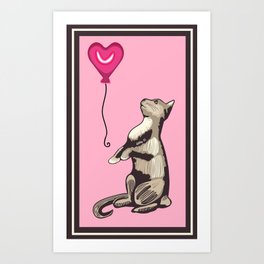 Cat with a Heart Balloon Illustration Art Print