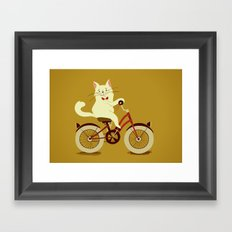 White cat on a bicycle Framed Art Print