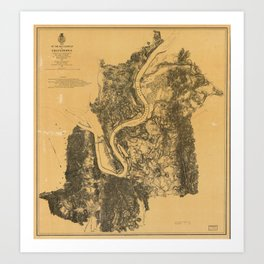 Map of Civil War Battlefield of Chattanooga (1875) Art Print