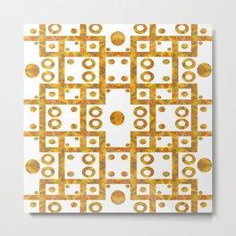Ironwork - White/Gold Metal Print