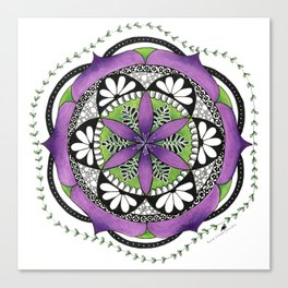 Purple Flower Mandala Canvas Print