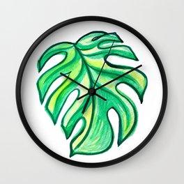 Monstera Leaf #mostera #tropical Wall Clock
