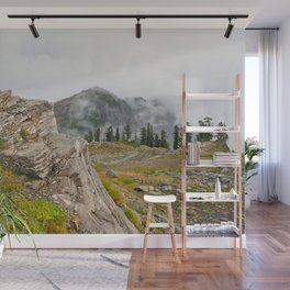 Alpine Ridgeline Trail Woods Forest Mountain Mist Washington Northwest Outdoors Nature Geology Wall Mural