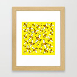 Bees on Yellow Framed Art Print