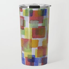 Squares on Solid Red and Blue Foundation Travel Mug