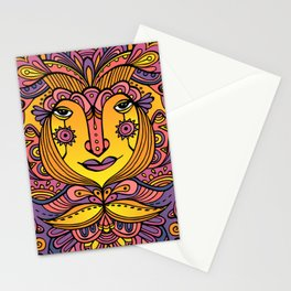 Flower fairy / Purple, orange, yellow pallete Stationery Cards