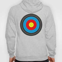 Yellow, red, blue, black target on white background Hoody