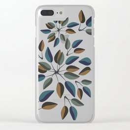Duo-Toned Leaf pattern 1 (Purple/Gold) Clear iPhone Case