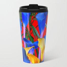 YELLOW & AZURE BLUE CALLA LILIES RED ART Travel Mug