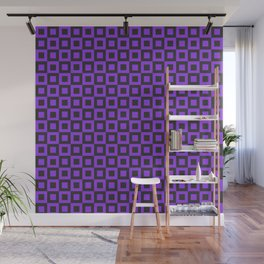 PURPLE AND BLACK SQUARES Wall Mural