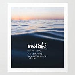 Meraki Word Nerd Definition - Purple Watercolor Art Print